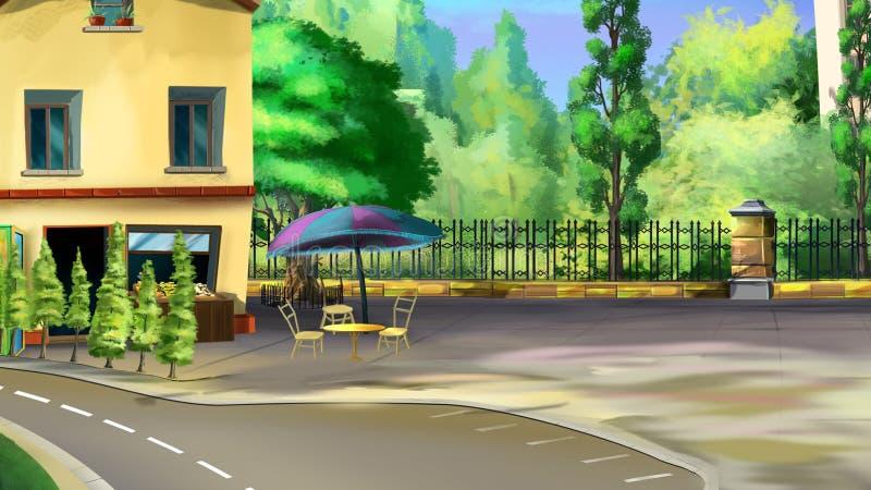 Roadside Cafe. Digital painting of the roadside cafe. Back view royalty free illustration