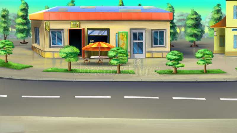 Roadside Cafe. Digital painting of the roadside cafe. Front view royalty free illustration