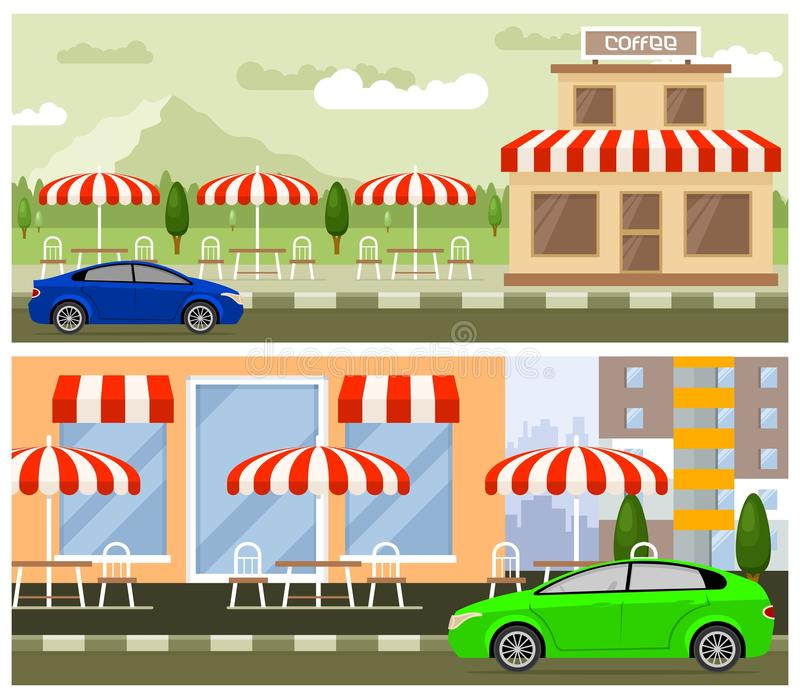 Roadside cafe flat design. Road and street cafes with tables, chairs and tents royalty free illustration