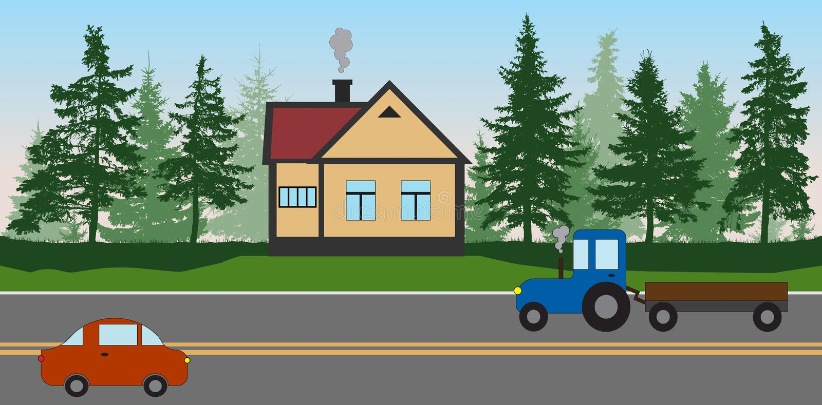 Roadside cafe near the forest, the road with a car and a tractor. House near the expressway, highway. Coniferous trees silhouette. Vector illustration royalty free illustration