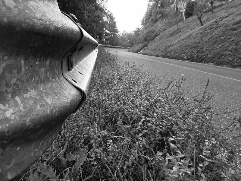 Roadside Crash Barrier Closeup stock afbeeldingen