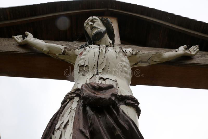 Roadside Crucifix. In Zagorje region, Croatia royalty free stock photos