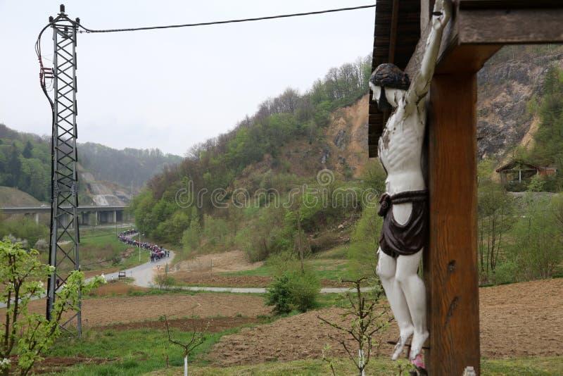 Roadside Crucifix. In Zagorje region, Croatia stock photos