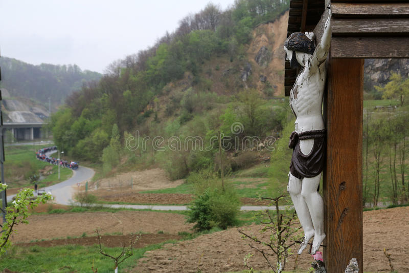 Roadside Crucifix. In Zagorje region, Croatia royalty free stock image