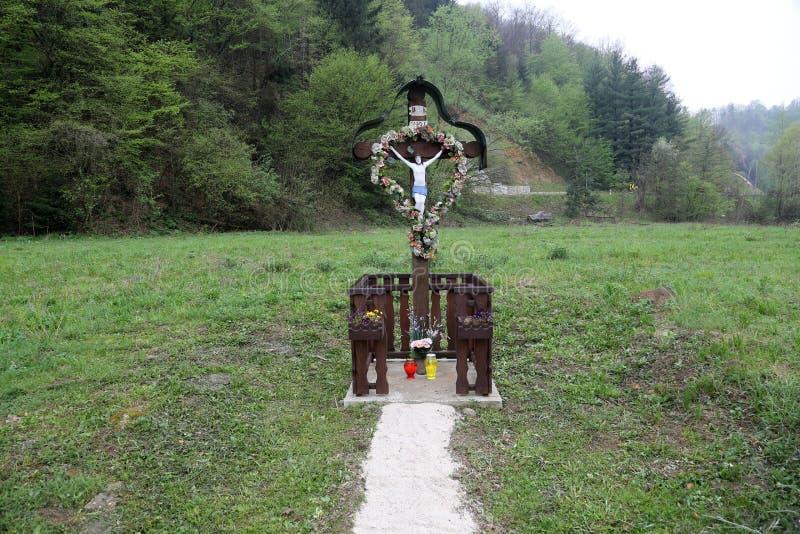 Roadside Crucifix. In Zagorje region, Croatia royalty free stock images