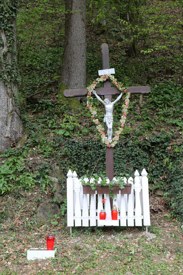 Roadside Crucifix. In Zagorje region, Croatia stock photography
