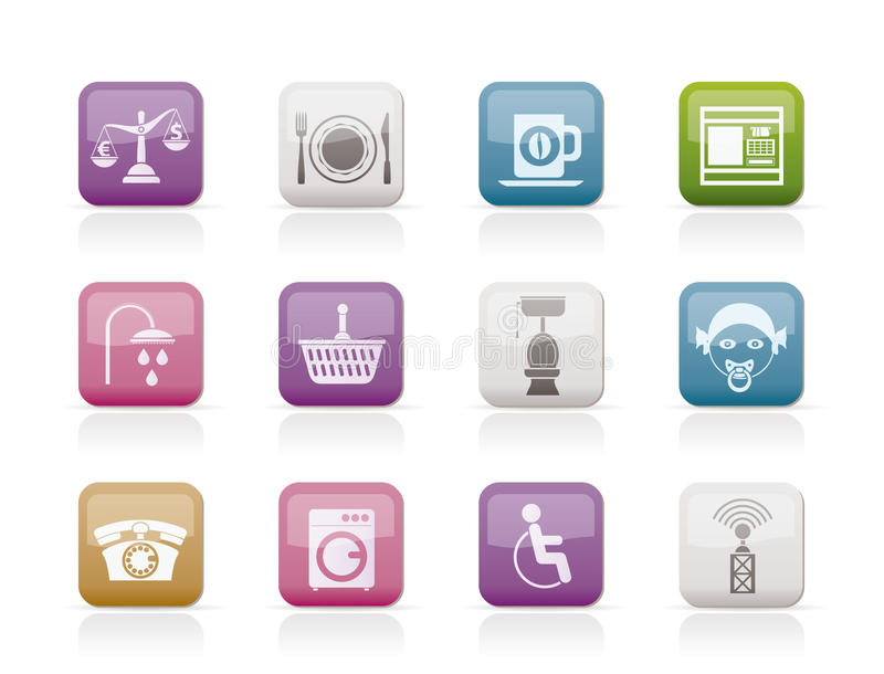 Roadside, hotel and motel services icons stock illustration