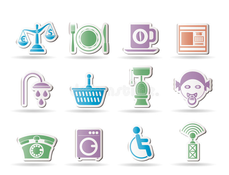 Roadside, hotel and motel services icons royalty free illustration