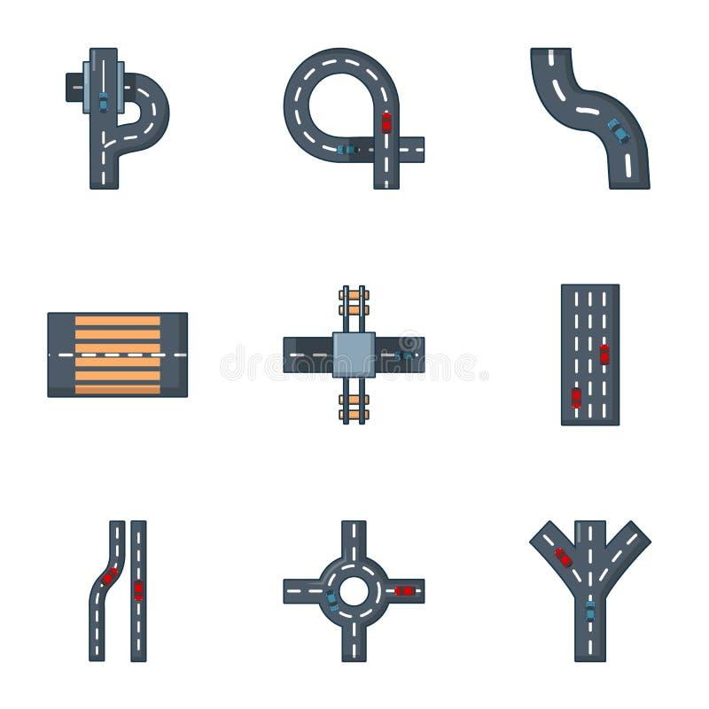Roadside icons set, cartoon style. Roadside icons set. Cartoon set of 9 roadside vector icons for web isolated on white background royalty free illustration