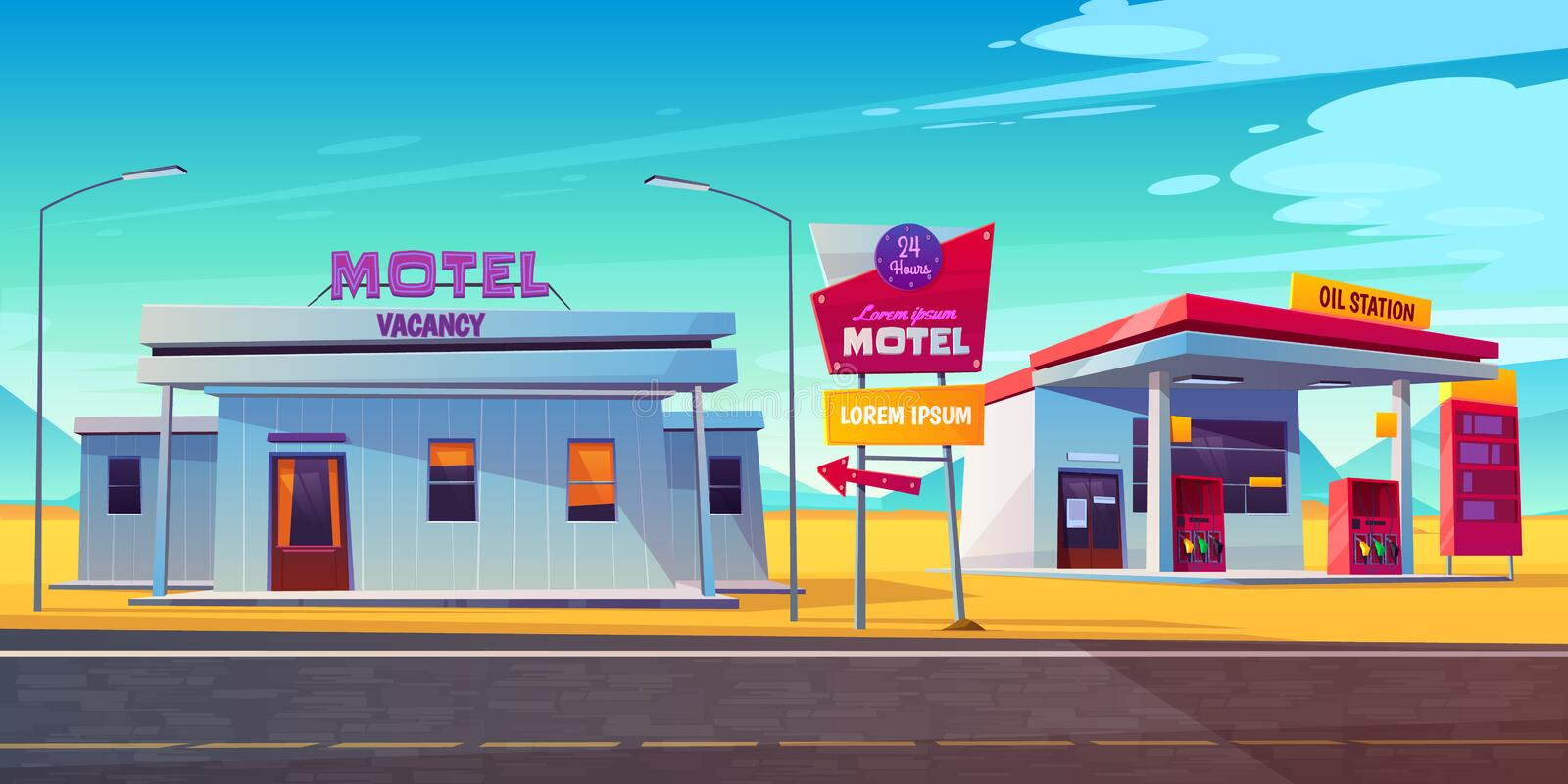 Roadside motel with car parking and oil station vector illustration