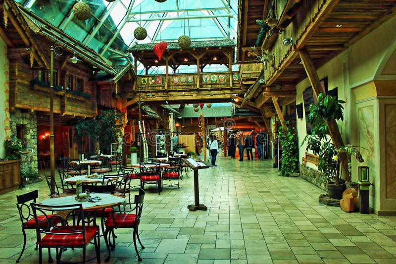 Alpine roadside restaurant interior Austria royalty free stock photos