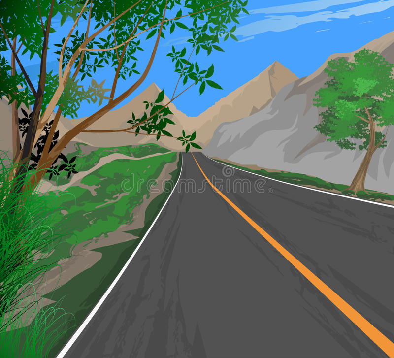 Roadside scenery. Illustration roadside scenery,transportation nature landscape background stock illustration