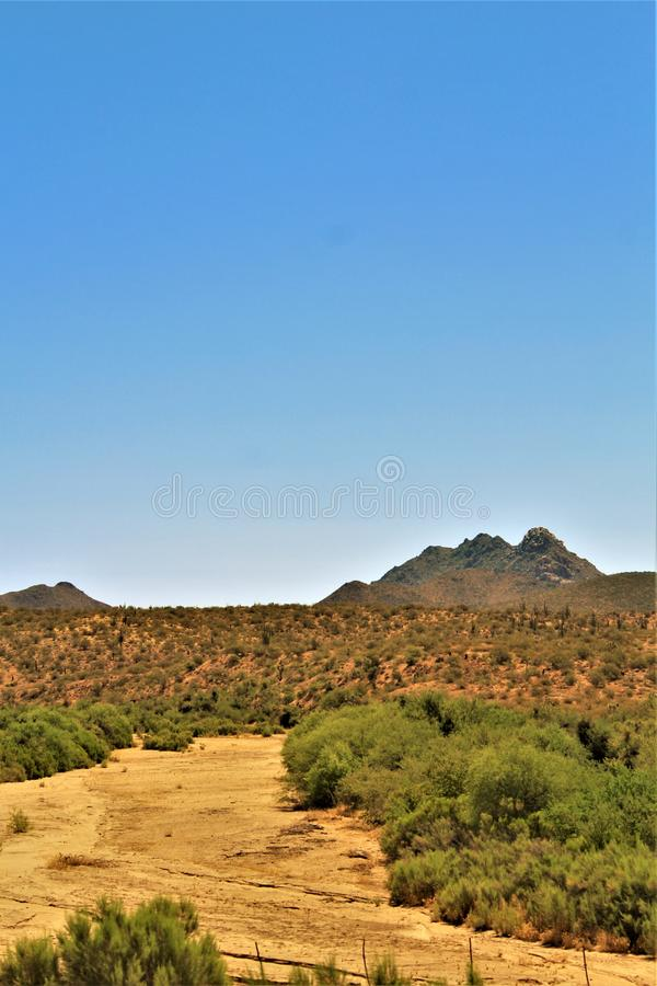 Scenic landscape view Phoenix to Las Vegas, Arizona, United States. Roadside scenic landscape view of vegetation, rocks and mountains on route US-93 north stock photography