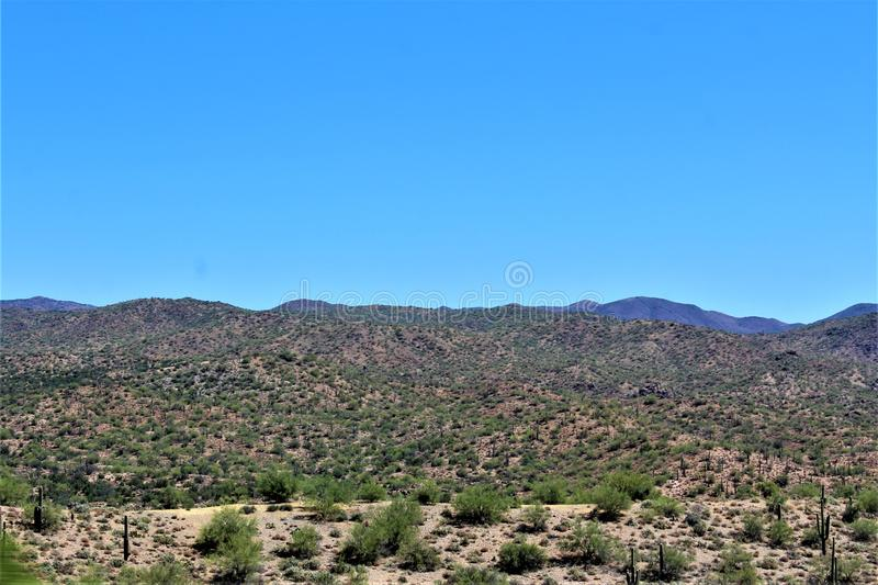 Scenic landscape view Phoenix to Las Vegas, Arizona, United States. Roadside scenic landscape view of vegetation, rocks and mountains on route US-93 north royalty free stock photos