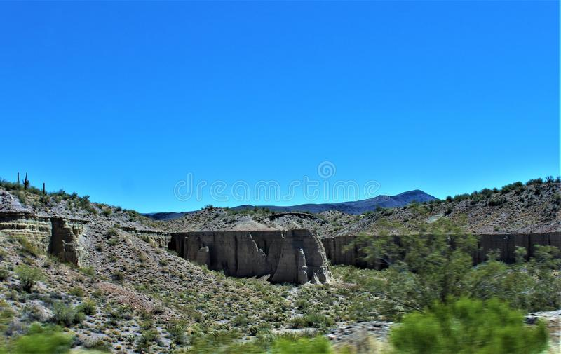 Scenic landscape view Phoenix to Las Vegas, Arizona, United States. Roadside scenic landscape view of vegetation, rocks and mountains on route US-93 north stock photo