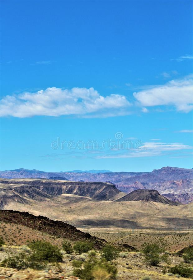 Scenic landscape view Las Vegas to Phoenix, Arizona, United States. Roadside scenic landscape view of vegetation, rocks and mountains on route US-93 south, Las royalty free stock photo