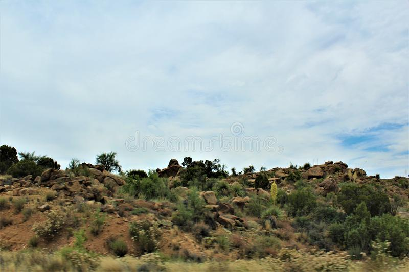 Scenic landscape view Las Vegas to Phoenix, Arizona, United States. Roadside scenic landscape view of vegetation, rocks and mountains on route US-93 south, Las stock photos