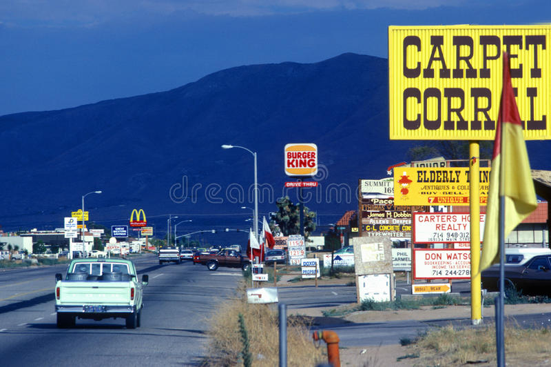 Roadside signs. And billboards at entrance to Hesperia, CA stock image