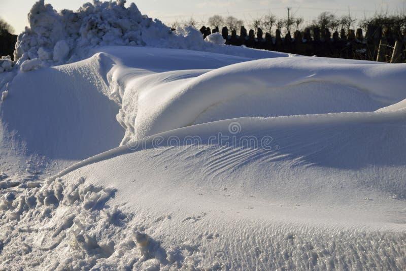 Roadside Snow Drifts. On Mendip Hills, Somerset March 2018 stock photo