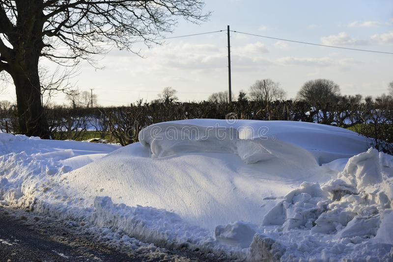 Roadside Snow Drifts. On Mendip Hills, Somerset March 2018 royalty free stock photography