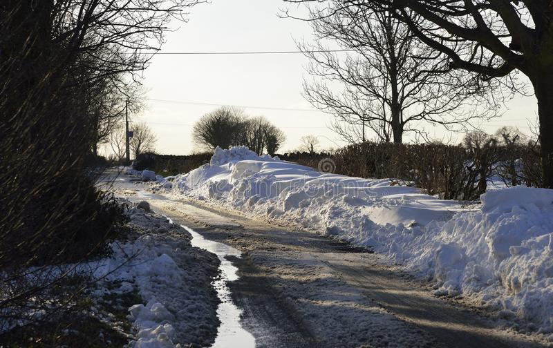 Roadside Snow Drifts. On Mendip Hills, Somerset March 2018 royalty free stock photos