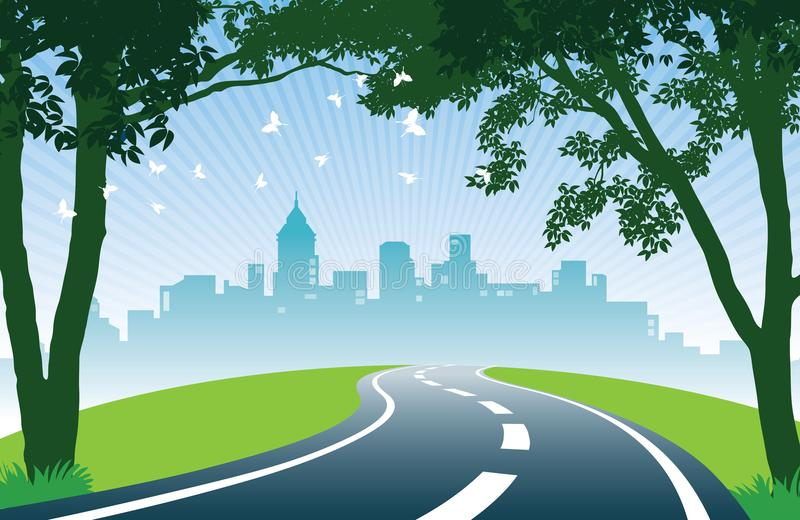 Roadside trees. Cheerful summer day. View of road, trees, meadows and the skyline of the city stock illustration
