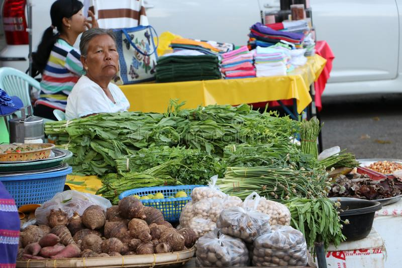 Roadside vegetable shop which is the way of life of Myanmar people at Yangon stock photography