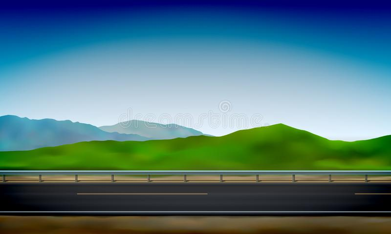 Roadside view with a crash barrier, green nature clear blue sky background, road, vector illustration. Roadside view with a crash barrier, green nature and clear vector illustration