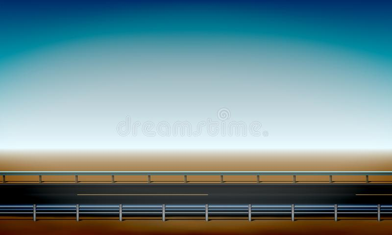 Roadside view with a crash barrier, straight horizon desert and clear blue sky background road, vector illustration. Roadside view with a crash barrier, straight stock illustration