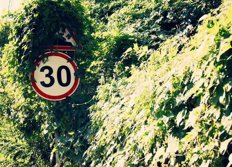 Roadside warning signs limit speed to 30 kmh. To reduce frequent accidents. Roadside warning signs limit speed to 30 kmh. To reduce frequent accidents stock images