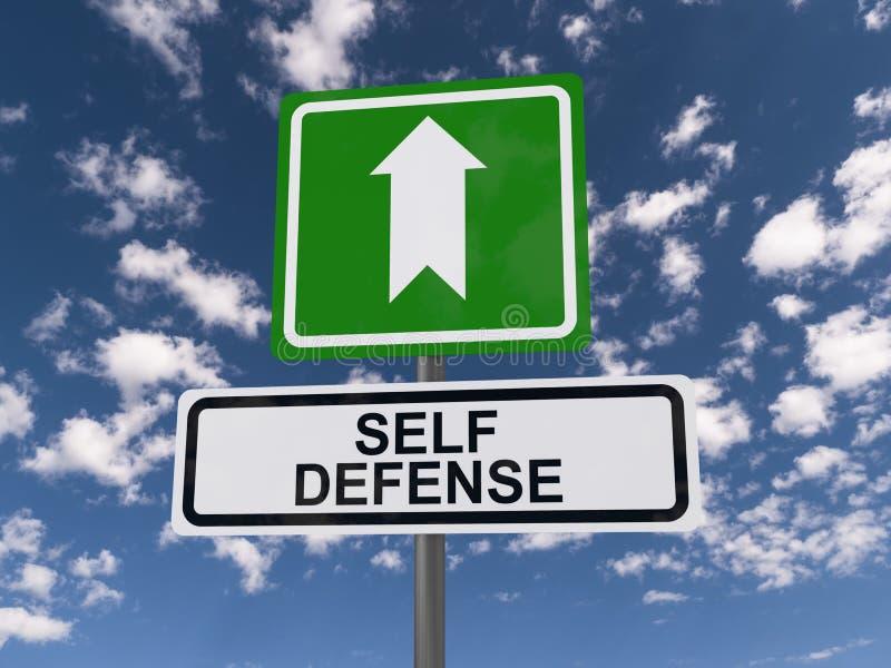 Roadsign de la autodefensa imagen de archivo