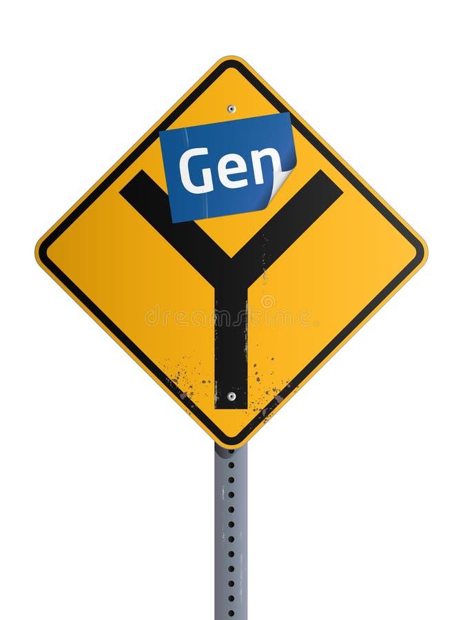 Roadsign de la GEN Y stock de ilustración