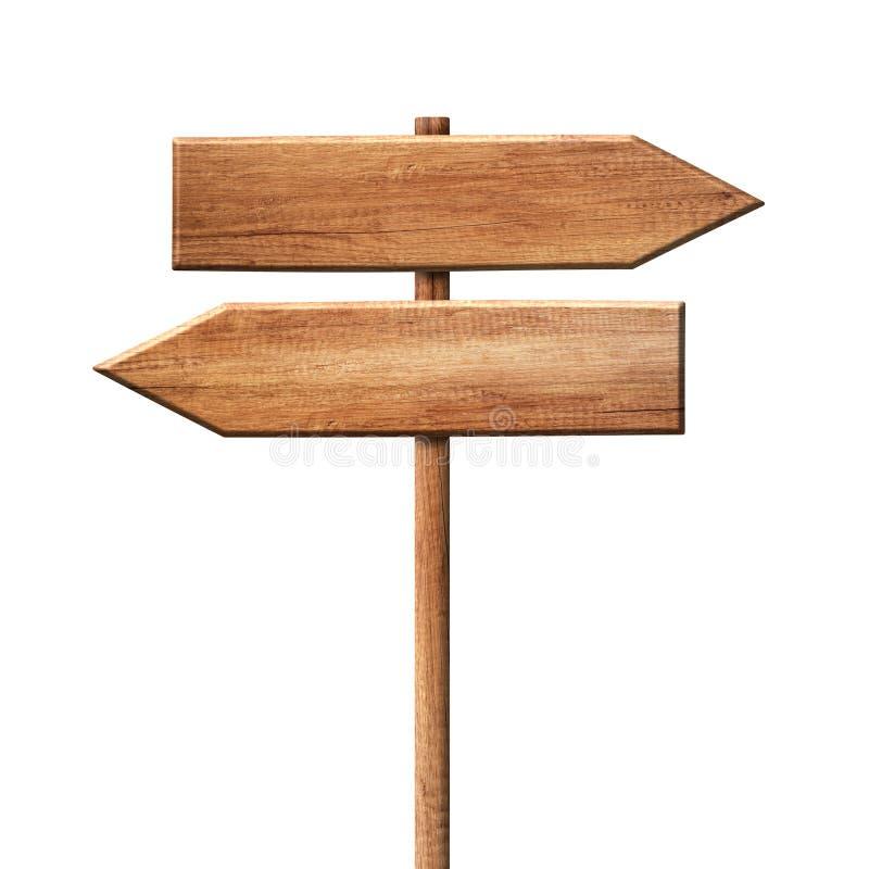Roadsign de madeira simples do letreiro da seta do sentido feito da madeira natural com único polo ilustração stock