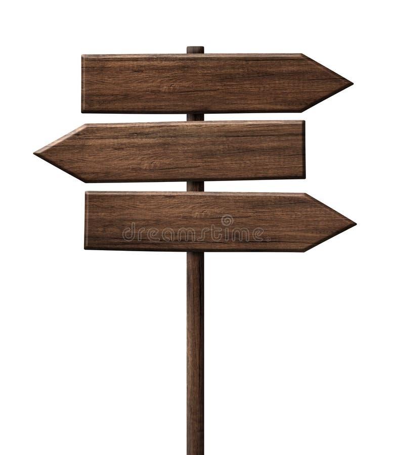 Roadsign de madeira simples do letreiro da seta do sentido do tripple feito da madeira escura com único polo ilustração do vetor
