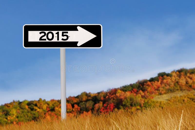Roadsign a 2015 de otoño foto de archivo