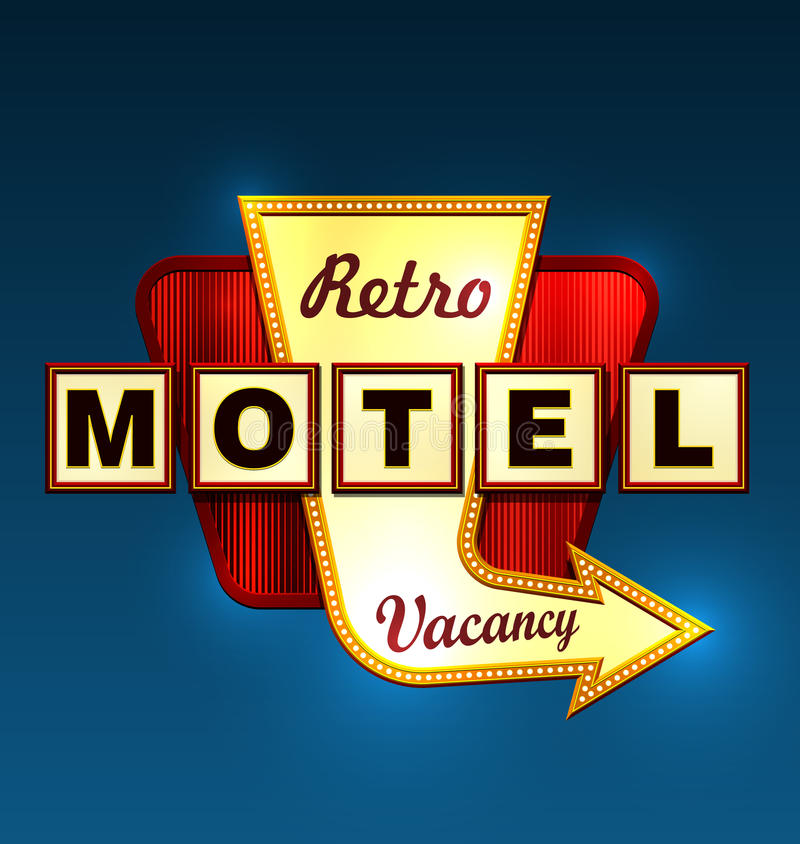 Roadsign del motel stock de ilustración