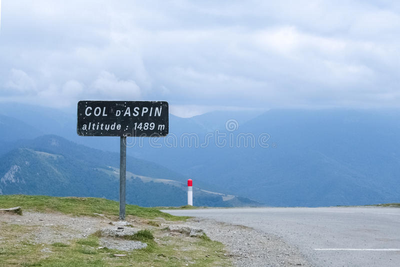 Roadsign marking the summit of Aspin Pass, French Pyerenees stock photo