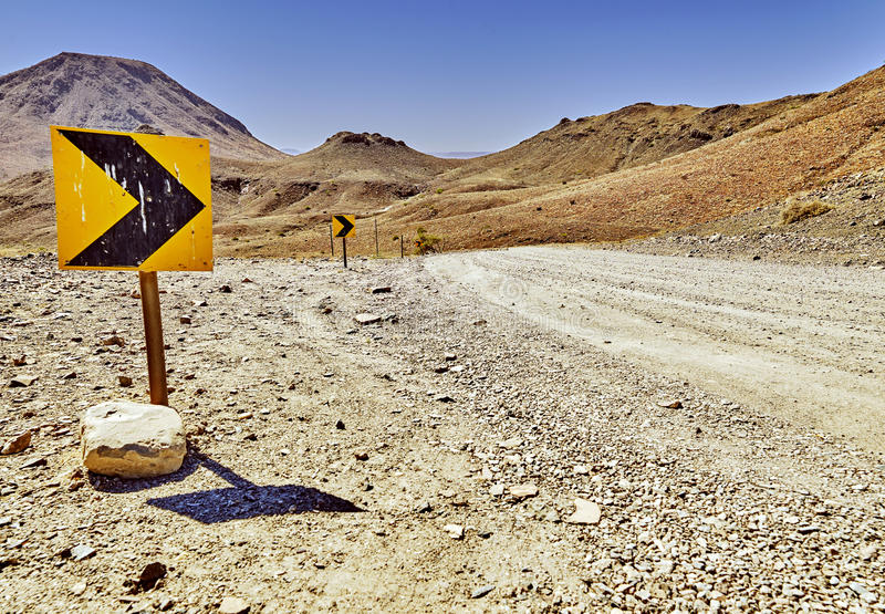 Roadsign on a road in africa, namib stock image