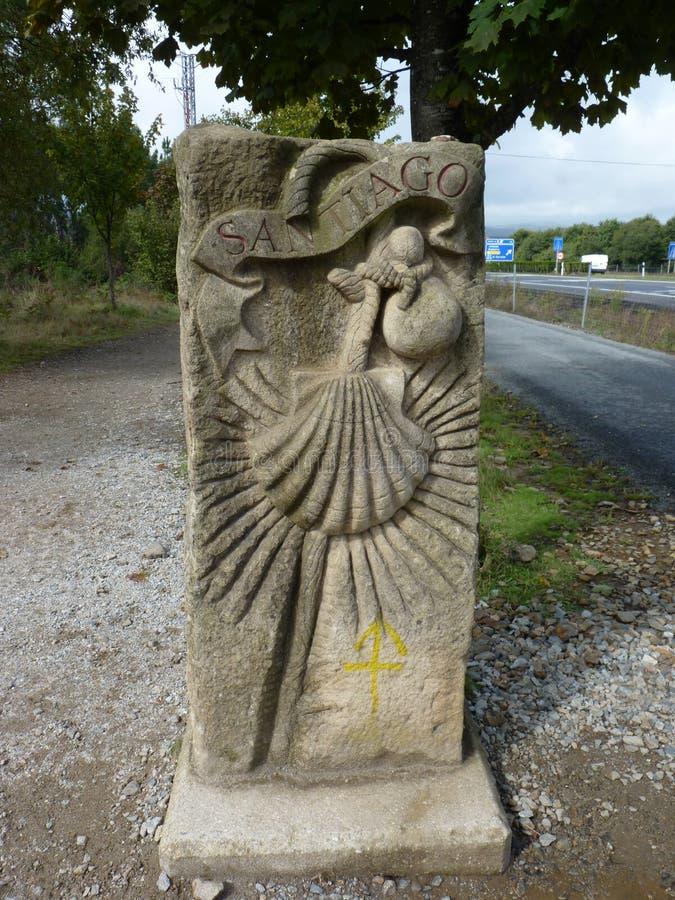 Roadsign sur le chemin du ` de ` de Jakobsweg de ` de St James ou de Camino Santiago de ` à Santiago de Compostela photos stock