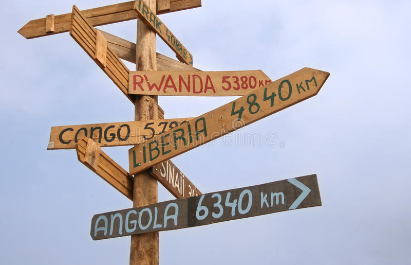 Roadsign to UN Missions stock photography