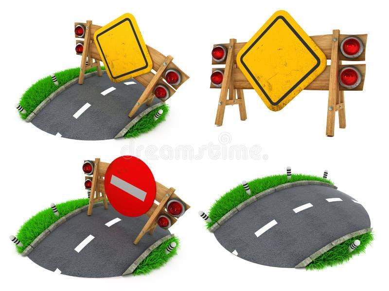 Roadsigns de advertência - grupo das ilustrações 3D imagens de stock