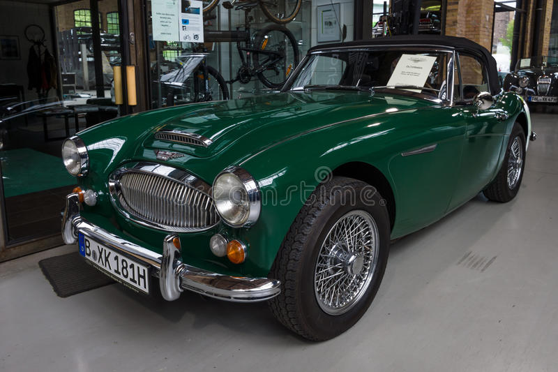 The roadster Austin-Healey 3000 Mk 3. BERLIN - MAY 10, 2015: The roadster Austin-Healey 3000 Mk 3. The 28th Berlin-Brandenburg Oldtimer Day royalty free stock photography