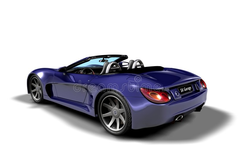 Roadster_b1. Roadster of my own design, viewed from back stock illustration