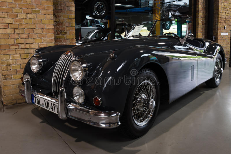 The roadster Jaguar XK140. BERLIN - MAY 10, 2015: The roadster Jaguar XK140. 28th Berlin-Brandenburg Oldtimer Day royalty free stock photography