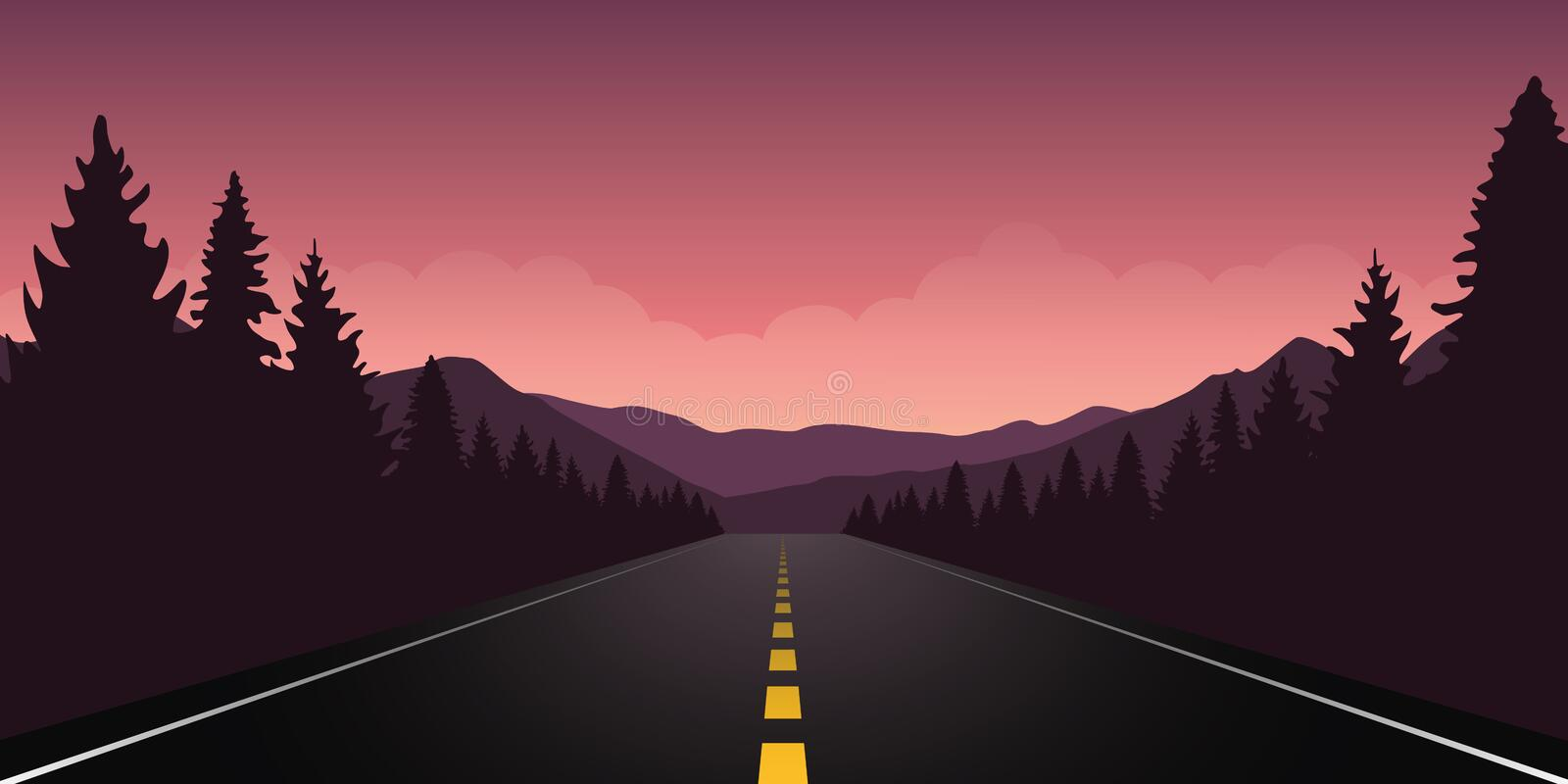 Roadtrip adventure staight road and forest landscape. Vector illustration EPS10 stock illustration
