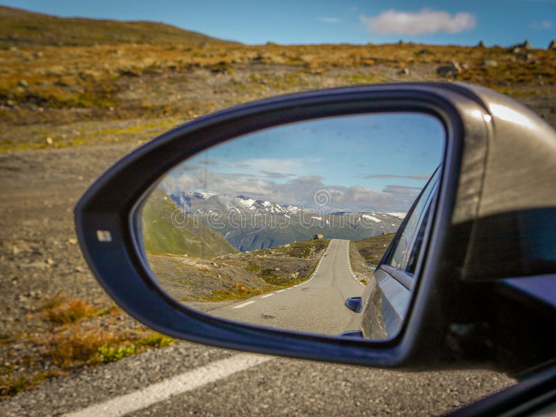 Roadtrip, Driving on a mountain pass near Aurland, Norway royalty free stock photos