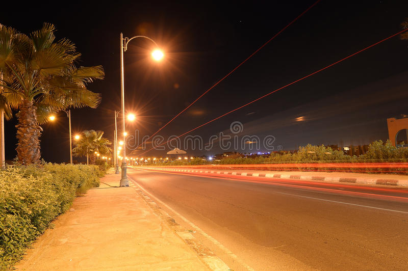 Roadway at night royalty free stock images