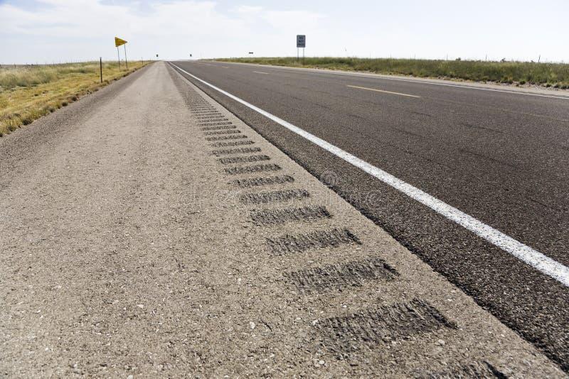 Roadway shoulder rumble strips stock photos