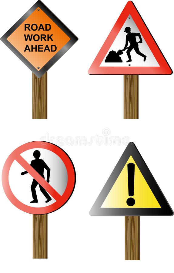 Roadwork construction site signs. Vector illustration of Roadworks and construction site signs and symbols isolated on white isolated on white background royalty free illustration