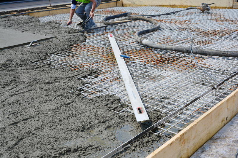 Concrete Slab Rebar : Roadwork reinforced concrete infrastructure stock photo